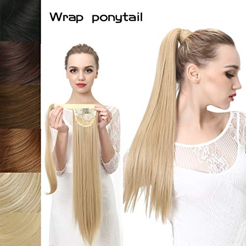 Straight Long Clip in Ponytail Hair Extension Wrap Around Synthetic Ash Blonde Fake Pony Tail Hairpiecs Hair Piece Heat-Resisting Fiber SARLA 24