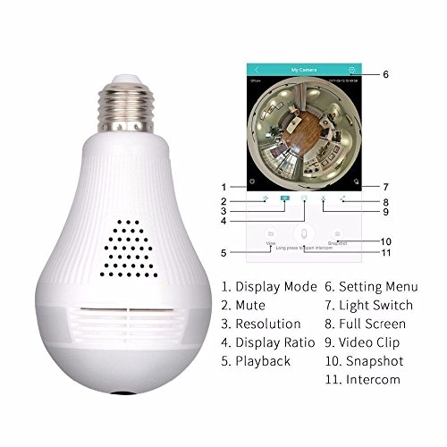 Wifi Hidden Camera LED Bulb Light 360-Degree Fisheye Panoramic Network Wireless Home Security 1080P IP Camera White, Home Security System Pet Monitor&Baby Camera,Two Way Talking,Motion by AR1