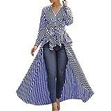 Willow S Women 2019 Sexy Fashion Irregular Hem Stripe Bow Tie V-Neck Long Sleeve Loose T-Shirts Tops Blouse Blue