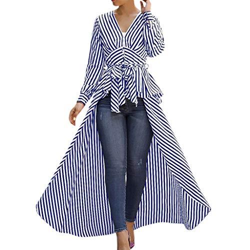 Willow S Women 2019 Sexy Fashion Irregular Hem Stripe Bow Tie V-Neck Long Sleeve Loose T-Shirts Tops Blouse Blue -