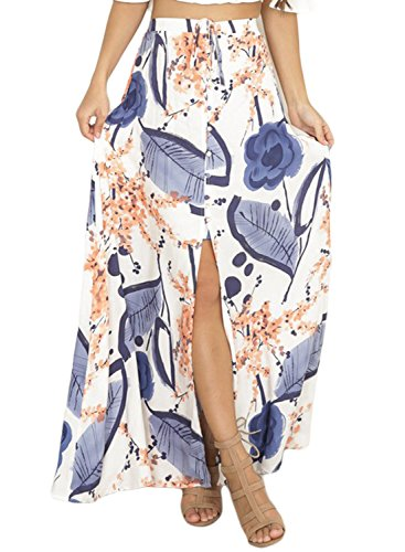 Lovezesent Women Summer Blue Floral Printed High Waisted A-Line Flare Sexy Slit Long Maxi Skirt Plus Size (Printed Maxi Skirt)