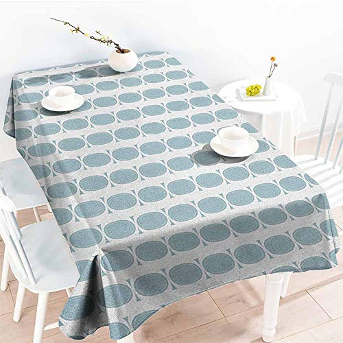 Anti-Fading Tablecloths,Blue Vintage 60s Living Room Inspired Round Circled Chain Like Shapes Art Print,Dinner Picnic Table Cloth Home Decoration,W60X90L Baby Blue and White