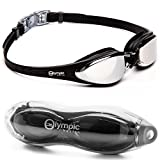 Olympia Nation Pro Swim Goggles - Black with Mirrored Lenses