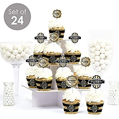 Big Dot of Happiness Roaring 20's - Cupcake Decoration - 1920s Art Deco Jazz Party Cupcake Wrappers and Treat Picks Kit - 2020 Graduation and Prom Party - Set of 24: Toys & Games