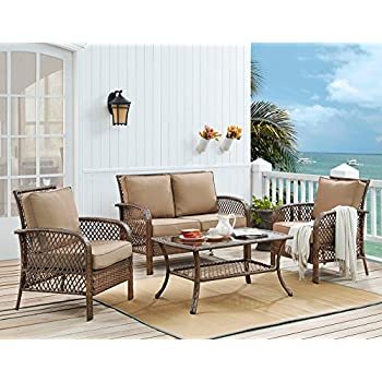 Ulax Furniture 4 Piece Outdoor Patio Deep Seating Group With Cushion, Rattan  Wicker Furniture Sofa