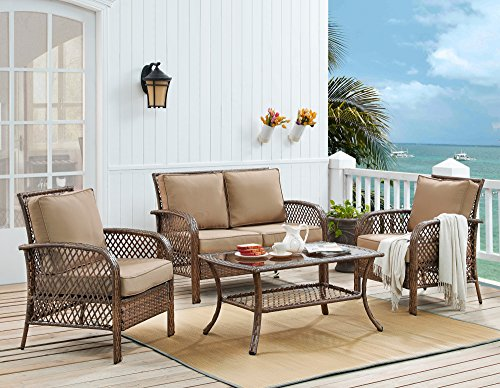 Ulax Furniture 4 Piece Outdoor Patio Deep Seating Group With Cushion,  Rattan Wicker Furniture Sofa Set (Beige)