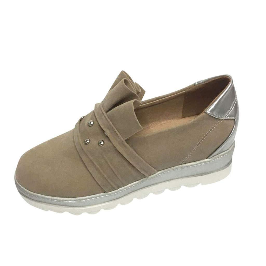 Malbaba Women's Fashion Casual Slip-on Loafers Classic Sneakers, Lite Racer Sneakers for Women Flyknit Walking Shoes Khaki by Malbaba