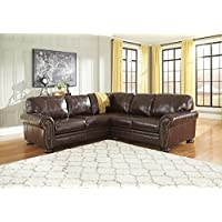 Banner Coffee Color Traditional Classics High-quality Leather Sectional Sofa
