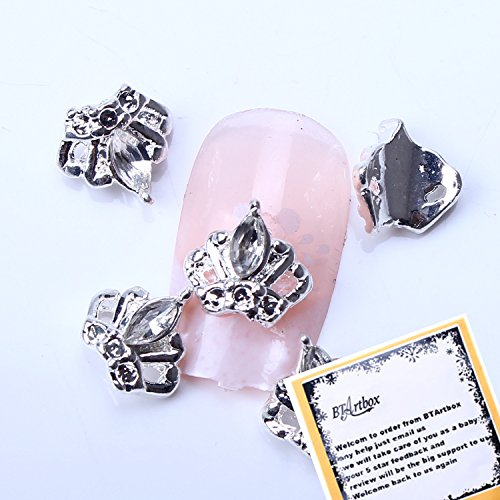 BTArtbox 10 pcs Gunmetal Crown Shaped Glitter 3d Nail Art Decorations