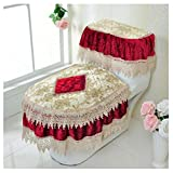 KRWHTS Toilet Mat Three-Piece Lace Toilet Mat Tank Cover + Lid Cover + Toilet Seat Cover