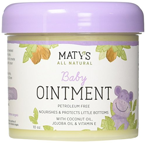 Diaper Cream Fragrance - Maty's All Natural Baby Ointment, 10 oz., Petroleum-Free, Safe for Cloth Diapers, Natural Alternative to Petroleum Based Diaper Rash Creams, Safe For Sensitive Skin, Chemical & Fragrance Free