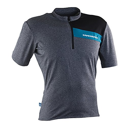 Race Face Podium Short Sleeve Jersey, Charcoal/Turquoise, - Podium Cycling Jersey