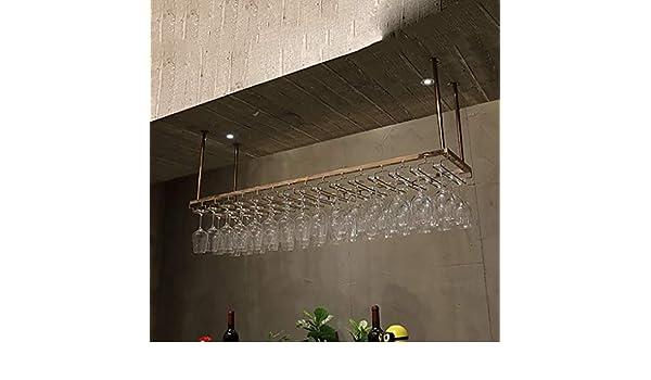 ZYFJJ Soportes para Copas Portavasos de Vino de Acero Inoxidable, portavasos Colgantes, Estante de Vino de Mesa de Barra para el hogar Boca Abajo (Tamaño : 120cm): Amazon.es: Hogar