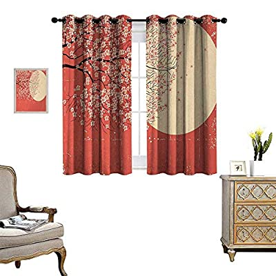 Anyangeight Spring Patterned Drape for Glass Door Cherry Blossom Sakura Tree Branches on Moon Japanese Style Illustration Waterproof Window Curtain W55 x L39 Coral Pale Yellow Plum