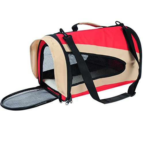 WOLTU Portable Soft-sided Pet Carrier Travel Tote for Cats Small Dogs and Puppies,Red,PCS03redS1-x