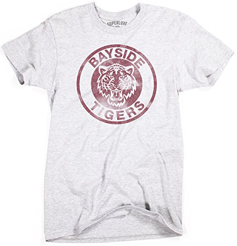 (Superluxe Clothing Mens Unisex Bayside Tigers High School Funny TV Vintage 90s Zack Morris AC Slater T-Shirt, Heather Grey,)