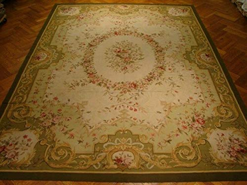 French Classic Famous Handmade Rug 10x14 Ivory Aubusson wool Rug