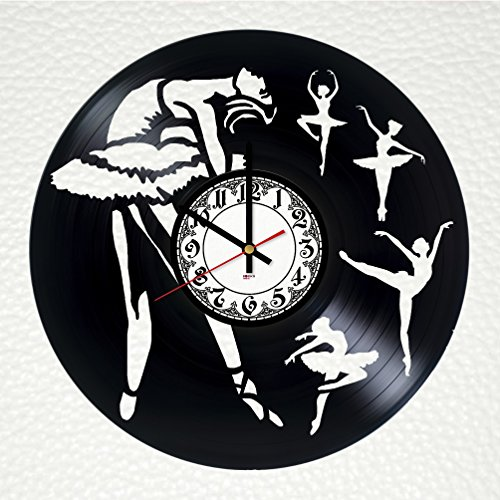 [Prima Ballerina Handmade Vinyl Record Wall Clock - Get unique home room wall decor - Gift ideas for friends, kids, teens – Performance Unique Modern] (Performance Art Costumes)