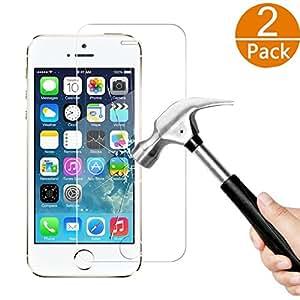 [2-Unidades] iPhone 5S 5 5C SE Protector de Pantalla, Y-ouni Cristal Templado iPhone 5 5S 5C SE