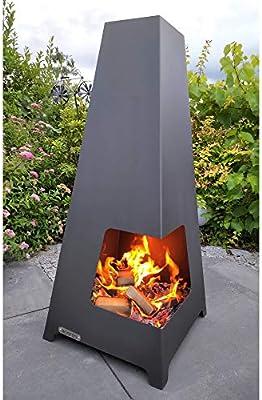 acerto 20095 FEWUR estufa de jardín estufa de terraza para el jardín 50x50x115 cm * leña y carbón * metal * salida de humos | chimenea para exterior | estufa de leña piramidal alta: Amazon.es: Jardín