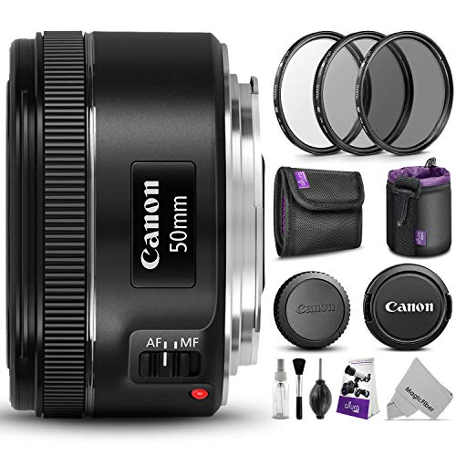 - Canon EF 50mm f/1.8 STM Lens w/Essential Photo Bundle - Includes: Canon USA Warranty, Altura Photo UV-CPL-ND4 Filter Kit, Neoprene Lens Pouch, Camera Cleaning Set
