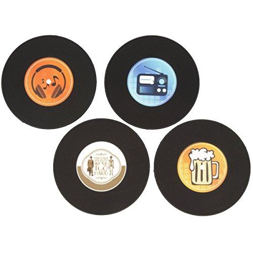 Vinyl Glasuntersetzer aus Gummi im Vintage Schallplatten Design