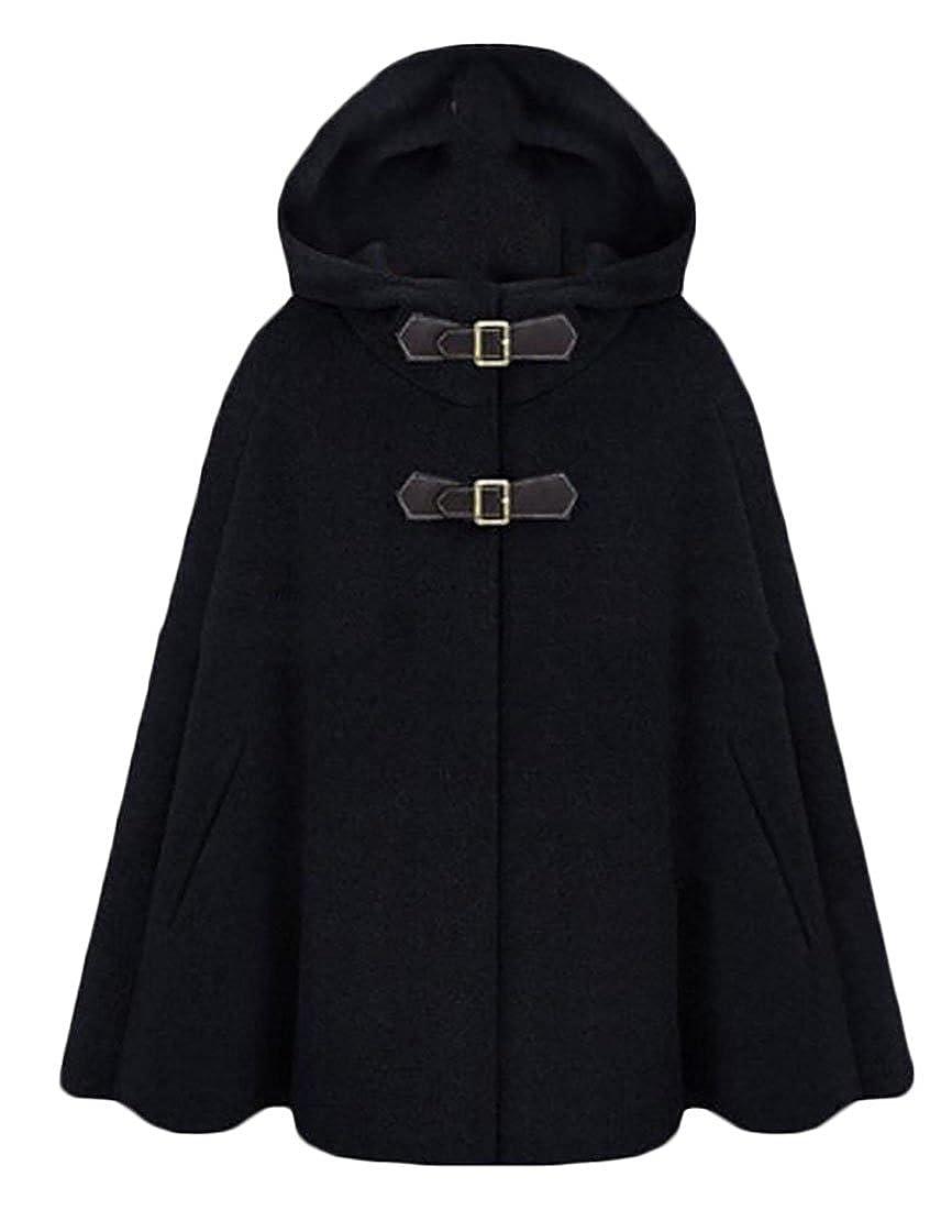 Fulok Womens Loose Winter Wool Hooded Cape Cloak Pea Coat Overcoat
