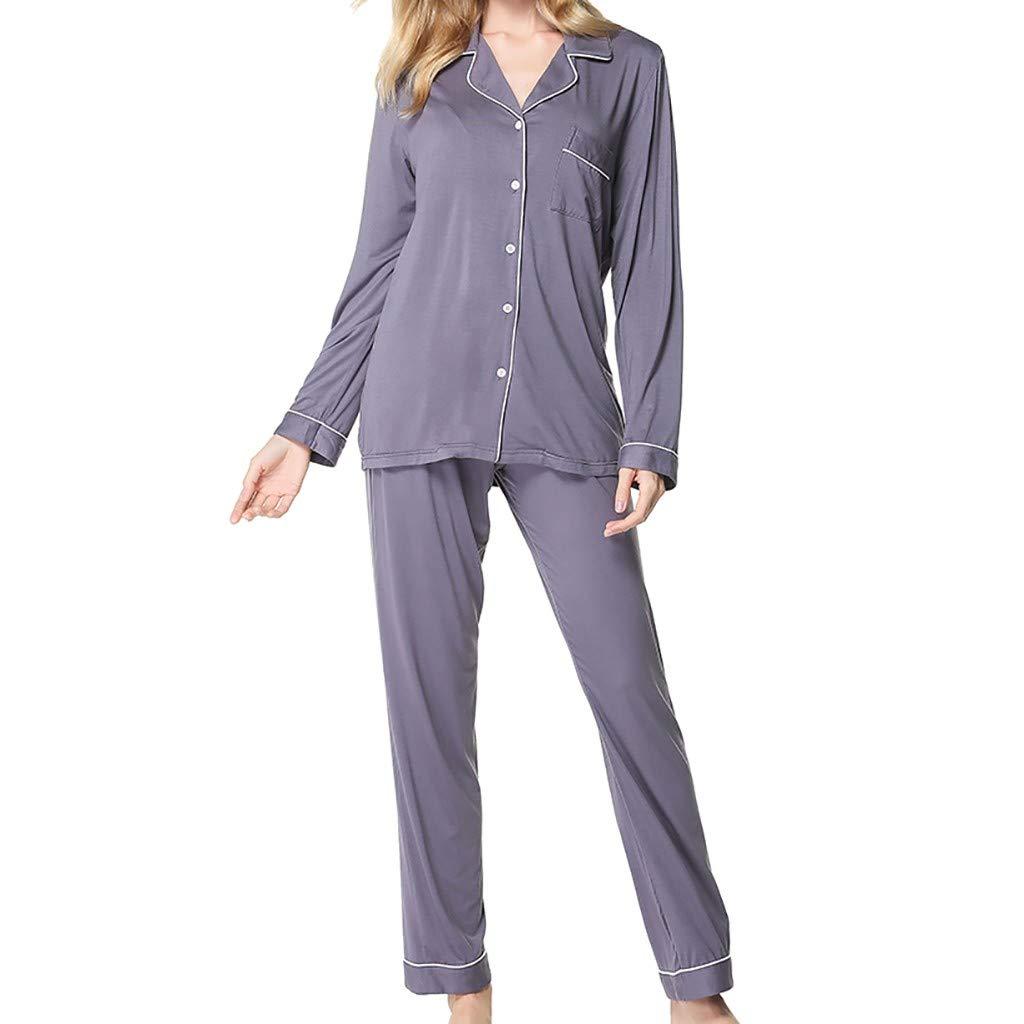 Modal Pajamas, WANQUIY Women's Long Sleeve Sleepwear Soft Pj Set Button Lapel Underwear Set Gray