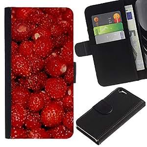Planetar® Modelo colorido cuero carpeta tirón caso cubierta piel Holster Funda protección Para Apple (4.7 inches!!!) iPhone 6 ( Fruit Macro Raspberry Red )