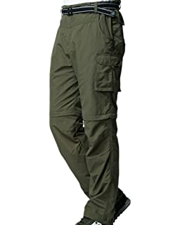 Water-Resistant Breathable TRAILSIDE SUPPLY CO Mens Lightweight Fishing Cargo Pants Quick-Dry