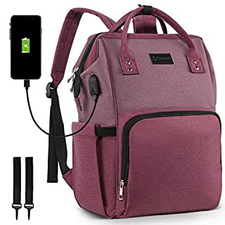 Diaper Bag Backpack, Techold Nylon Waterproof Maternity Baby Bag, Nursing Nappy Back Pack with Travel Stroller Straps, USB Port, Large & Stylish & Durable(Purple)
