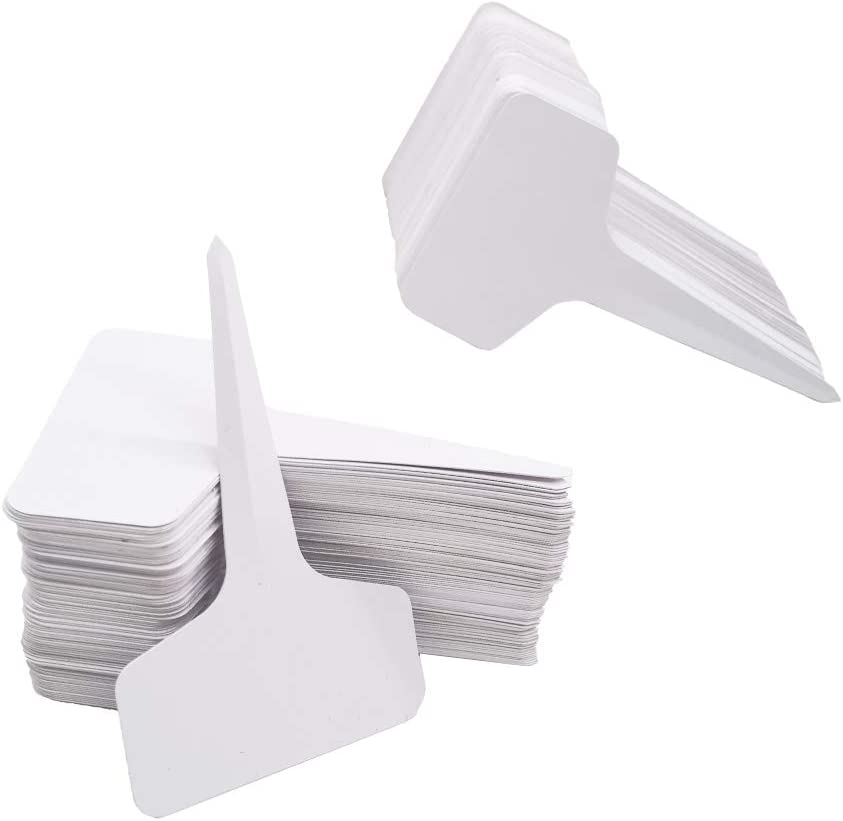 300 Pcs 6 x 10cm (2.4 x 4 inch) T-Type Plant Labels Plastic Plant Tags Waterproof Re-Usable Nursery Garden Label for Flower Vegetables Herb Signs,White