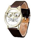 Start Women Cute Glasses Cat Crystal Gold Case Leather Quartz Watch-Black