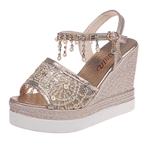 Sturrly Womens Casual Wedge Sandal,Fashion Crystal Lace Peep Toe Ankle Buckle Strap High Platforms Sandals for Dress Party Wedding Gold