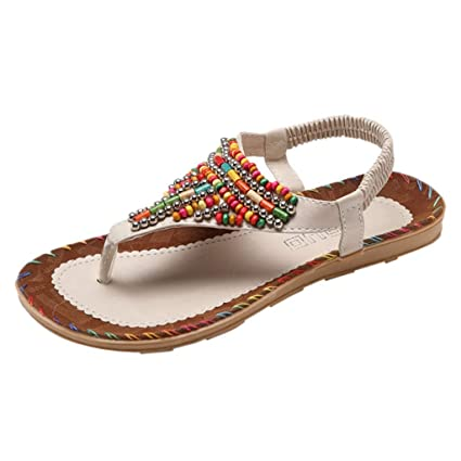 c678ab62f6636 Women Bohemian Sandals Leather Flat Thong Flip Flops Sandals Ethnic Style Beaded  Sandals Slip on Slingback