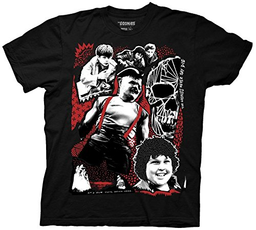 - Ripple Junction Goonies Adult Unisex Sloth Group Colored Light Weight 100% Cotton Crew T-Shirt SM Black