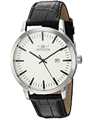 Invicta Mens Specialty Quartz Stainless Steel and Leather Casual Watch, Color:Black (Model: 22314)