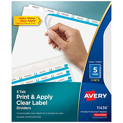 - Avery 11436 Print & Apply Clear Label Dividers w/White Tabs, 5-Tab, Letter (Pack of 5 Sets)