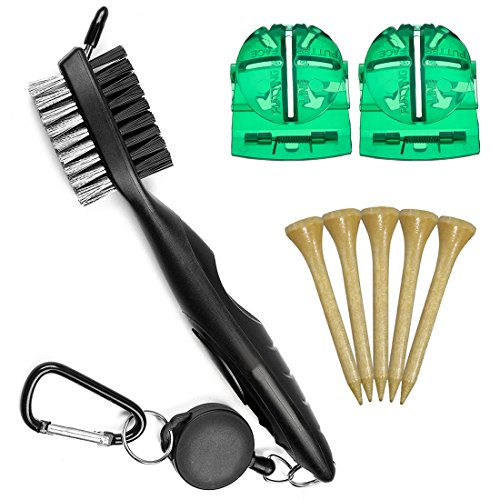 AxPower Golf Accessories Kit Includes Golf Tees, Club Groove Brush Cleaner, Ball Liner Marker Template Tool Brush Tee Golf Tee