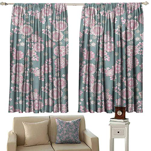 DuckBaby Printed Curtain Floral Cute Romantic Pastel Foliage Blooming Season Essence Botanical Beauty Noise Reducing Curtain W63 xL63 Baby Pink Slate Blue