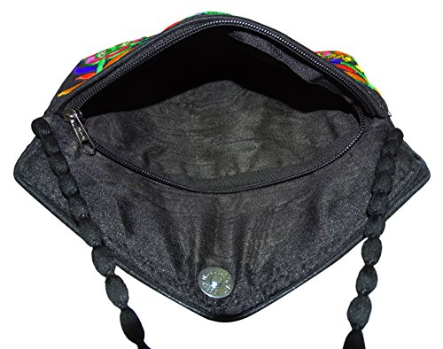 Bandoulière Femme Traditionnel Noir PEEGLI Brodé Monnaie À Crossbady Sac Porte Fqggwv1