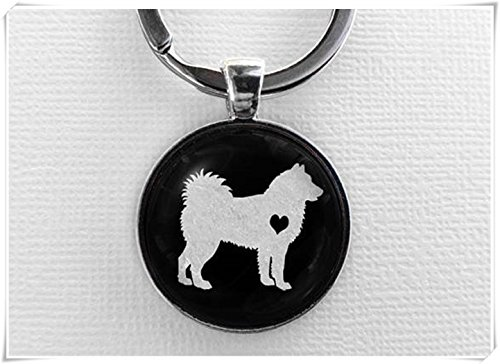 Dandelion Alaskan Malamute Keychain, Glass Dome Pendant Keyring, Cute Dog Lover Gift, Art Charm Jewelry, Pet Memorial Jewellery, Key Chain Ring ()