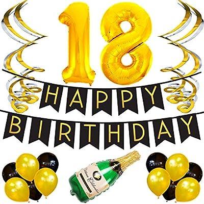 Paquete para Fiesta de Cumpleaños Número 18 – Paquete con Banderín de Feliz Cumpleaños Negro y Dorado, Pompones y Serpentinas - Decoración para ...