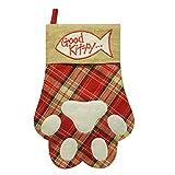 "Cheap 18.5"" Plaid Pet Paw Cat Christmas Stocking, Good Kitty (Plaid Cat)"