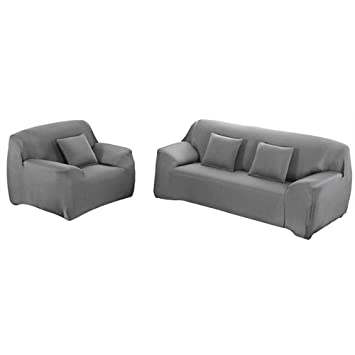 Yeahmart - Funda elástica para sofá (1 2 3 4 plazas), Gris, 4 Seaters