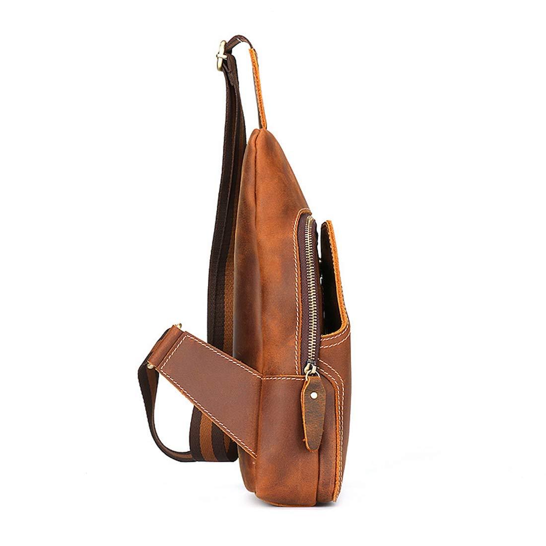 Color : Brown RABILTY Men Chest Bag Genuine Leather Waist Bag Vintage Handmade Bag Crossbody Bag Sports and Leisure Business Travel Bag