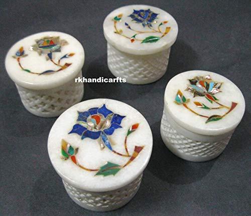 rkhandicrafts Handmade Marble Jewelry Box Multi Use Box 4 Pieces Set Inlay Art Abalone Shell Lapis Lazuli Semi Precious Stone Birthday Gift Item 2.5 Inches Diameter