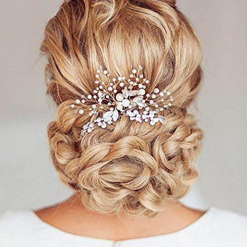 2pcs Bride Crystal Jewelry Diamante Hair Comb Piece Clip Slide Wedding Headband ()