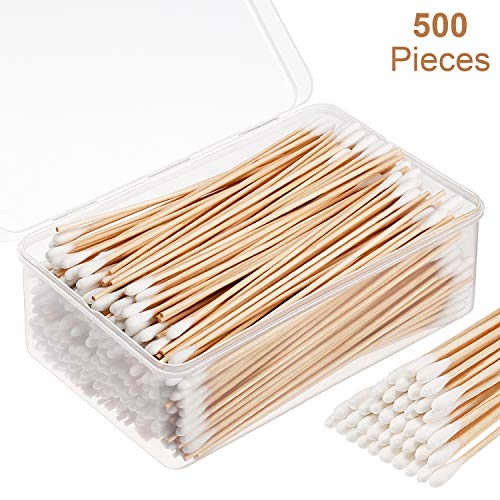 (Norme 6 Inch Caliber Cotton Cleaning Swabs Single Round Tip with Wooden Handle Cleaning Swabs for Jewelry Ceramics Electronics in Storage Case (500 Pieces) )