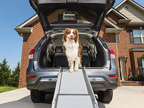 PetSafe Happy Ride Telescoping Dog Ramp - Portable Lightweight Pet Ramp - Great for Cars, Trucks and SUVs - Durable Aluminum Frame Supports up to 400 lb - Side Rails and High Traction Surface Design